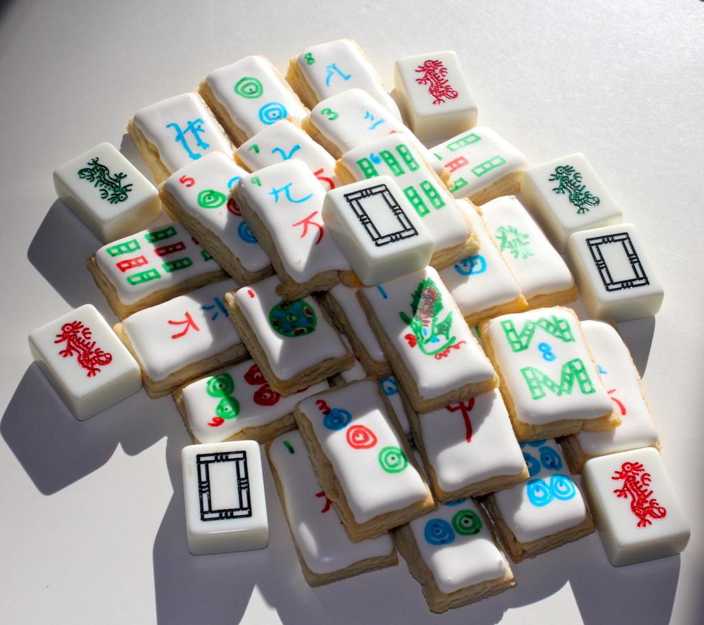 Mahjong Tile Cookies with Mahjong Tiles | SugaredAndIced.com