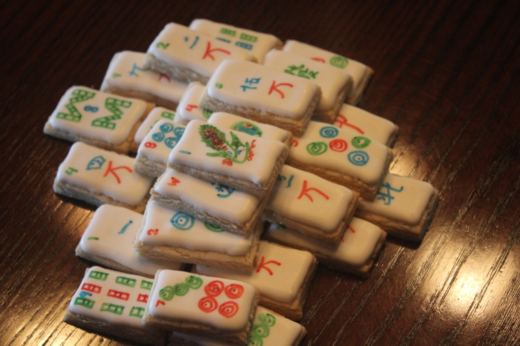 Stacked Mahjong Tile Cookies | SugaredAndIced.com