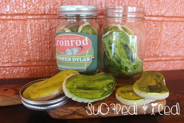 Iced Pickle Sugar Cookie |SugaredandIced.com