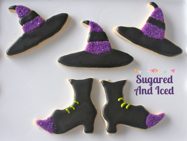 Witches hat and shoes sugar cookies | SugaredAndIced.com