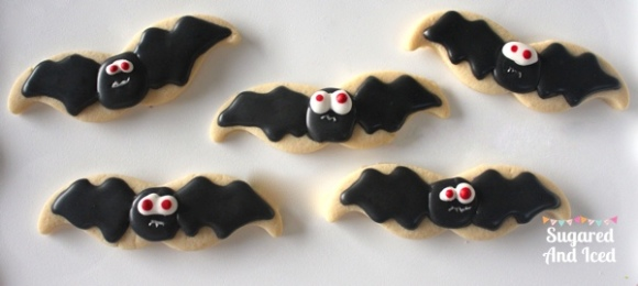 Decorated bat sugar cookies