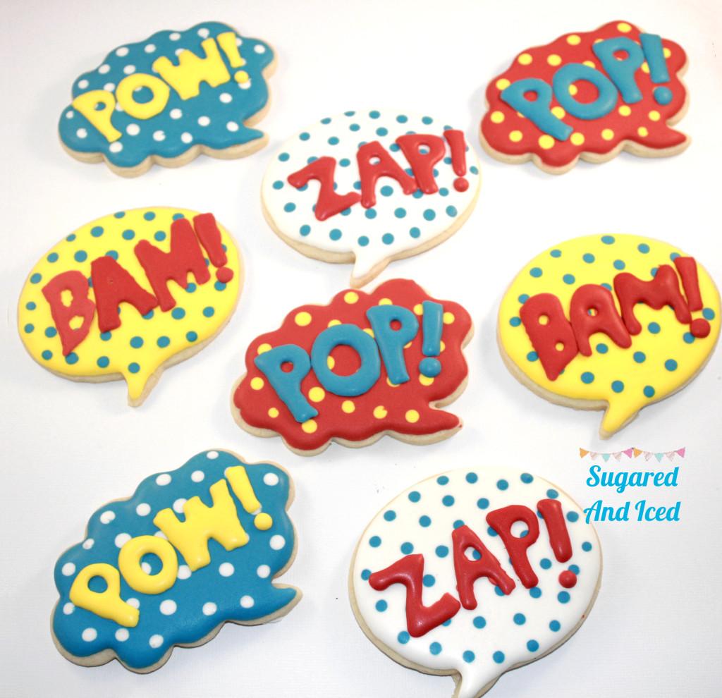 Pow, Bam, Zap, Pop, Superhero Cookies| SugaredAndIced.com