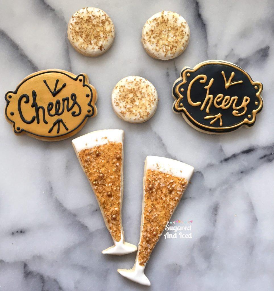 Champagne Glass Sugar Cookies | SugaredAndIced.com