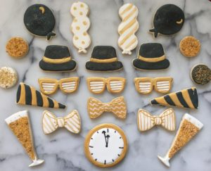 Party Sugar Cookies Black and Gold | SugaredAndIced.com